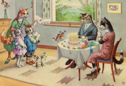 Chats carte- anniversaire