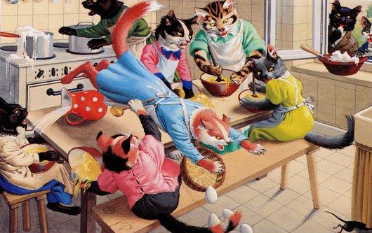 Chats carte- la souris dans la cuisine