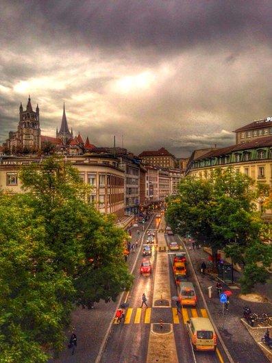 Rue Centrale vue du Grand Pont.