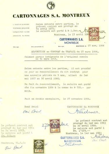 Contrat de travail 1956-60-63-65
