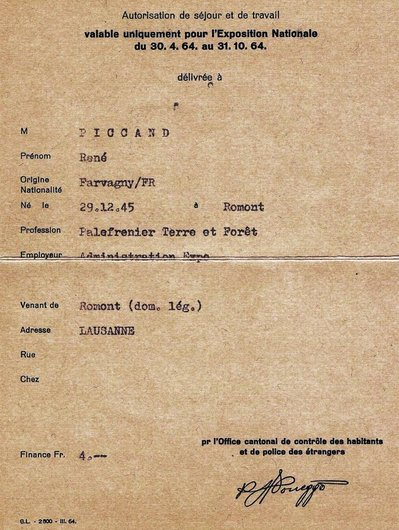 Expo 64, autorisation de séjour