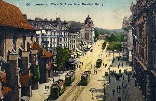 Lausanne, place Saint-François et Derrière Bourg