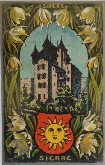 Une carte postale illustrée de Sierre