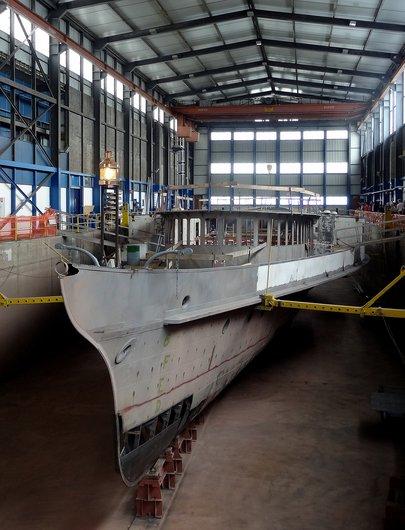 Bateau-salon «Italie II» au chantier naval de la CGN