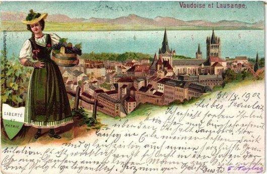 Lausanne et la belle vendangeuse