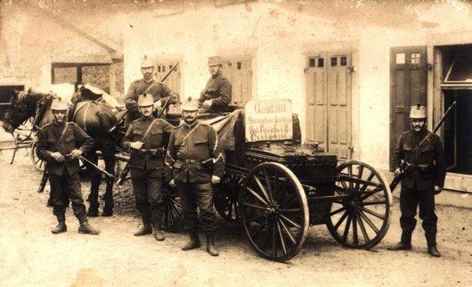 Occupation au frontière bat. Carab.1/2 Cuisine Août 1914