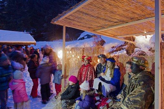 Crèche de Noël, à Zinal