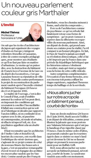 Michel Thevoz article urbanisme