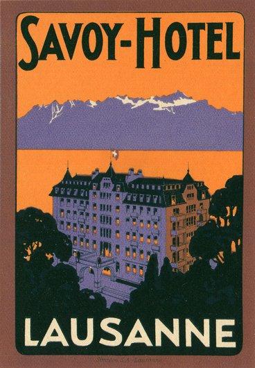 Étiquette de bagage de l'hôtel Savoy à Lausanne