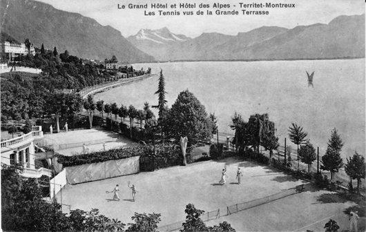 Les tennis du Grand hôtel et hôtel des Alpes à Territet