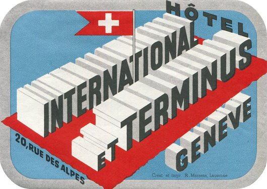 Étiquette de bagage de l'Hôtel International et Terminus Genève