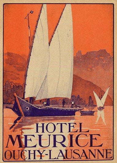 Étiquette de bagage de l'Hôtel Meurice Ouchy-Lausanne