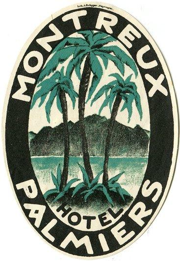 Étiquette de bagage de l'Hôtel Palmiers à Montreux