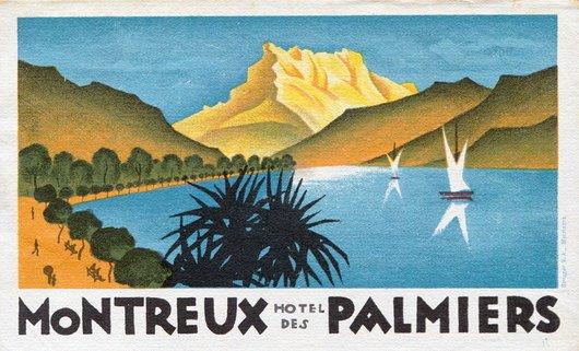 Étiquette de bagage de l'Hôtel des Palmiers à Montreux