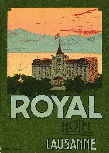 Étiquette de bagage de l'Hôtel Royal (Savoy) à Lausanne