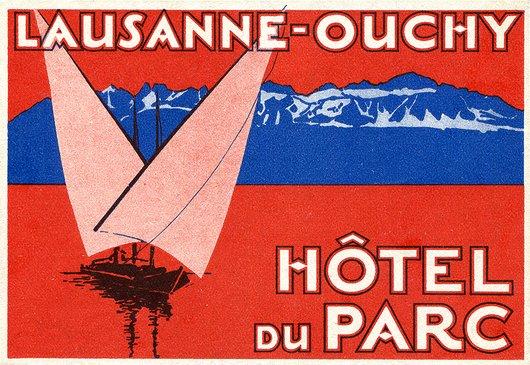 Étiquette de bagage de l'Hôtel du Parc à Lausanne - Ouchy