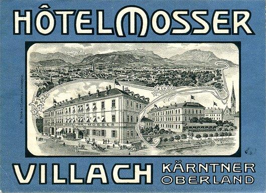 Étiquette de bagage de l'Hôtel Mosser à Villach (Kärntner Oberland), Autriche