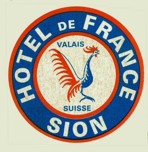 Étiquette de bagage Hôtel de France Sion