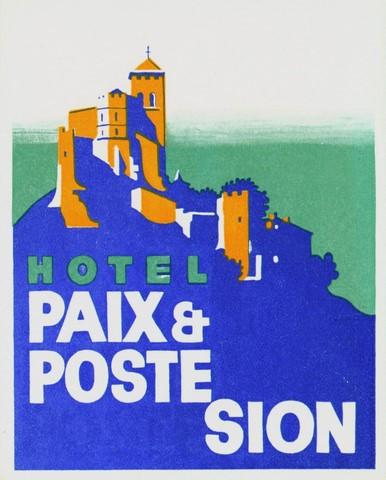 Étiquette de bagage Hôtel Paix & Poste Sion