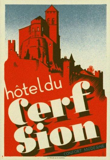 Étiquette de bagage Hôtel du Cerf Sion