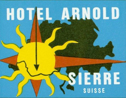 Étiquette de bagage Hôtel Arnold Sierre,Valais,Suisse