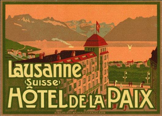 Étiquette de bagage  Hôtel de la Paix Lausanne