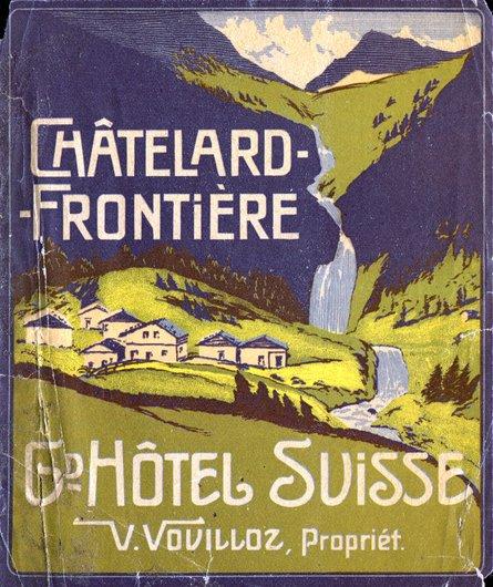 Étiquette de bagage du Gd. Hôtel Suisse à Châtelard-Frontière VS