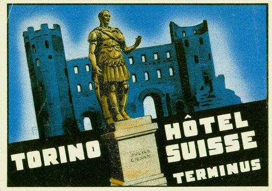 Étiquette de bagage Torino Hôtel Suisse Terminus