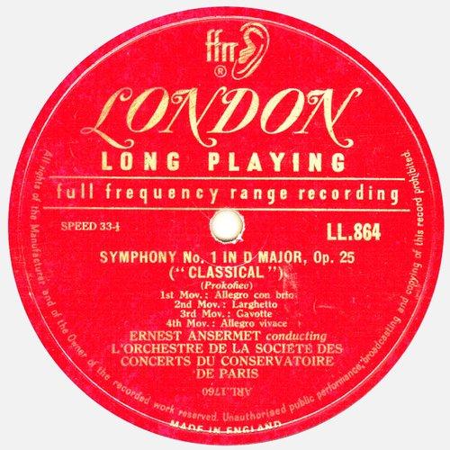 Ernest ANSERMET, Prokofjew, OSCCP, 1953, Étiquette recto du disque Decca London LL 864