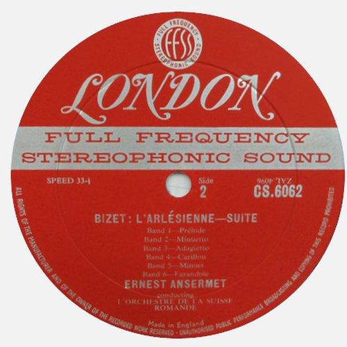 Georges BIZET, Suites No 1 et No 2 de l'Arlésienne, OSR, Ernest ANSERMET, étiquette verso disque CS 6062