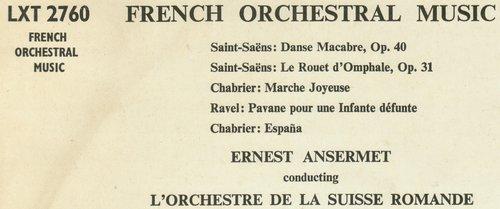 Camille SAINT-SAENS, La Danse macabre, OSR, Ernest ANSERMET, 1952, extrait du verso de la pochette du disque LXT 2760