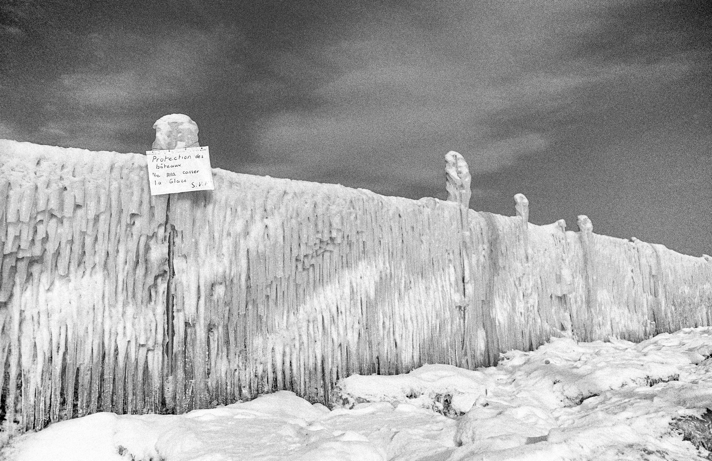 Genève, le bord du lac gelé en 1985