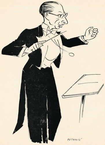 Igor STRAWINSKI, env. 1934, «croqué» par le caricaturiste genevois PETROVIC