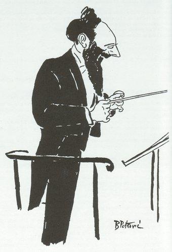 Ernest ANSERMET croqué par PETROVIC (silhouette de profil)
