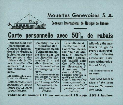 Genève, carte de rabais des Mouettes Genevoises