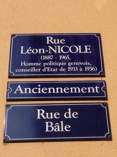 Plaque de la rue Léon-Nicole