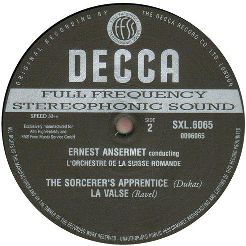 M.Ravel, La Valse, P.Dukas, L'Apprenti-Sorcier, OSR, Ernest ANSERMET, avril 1963, étiquette verso du disque SXL 6065