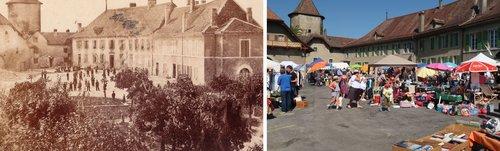 Echallens, Place du Château avant 1900 et en 2018