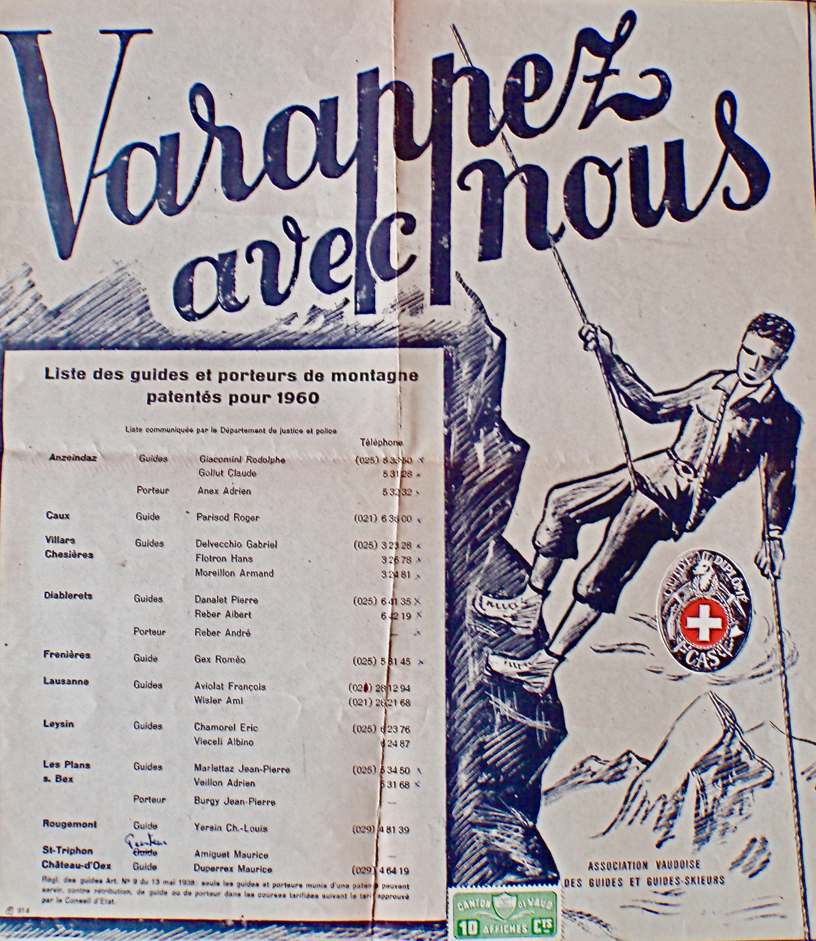 Liste des guides et porteurs de montagne 1960