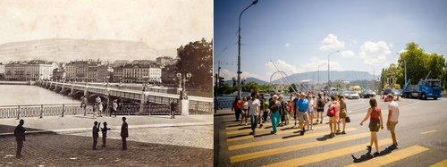 Le Pont du Mont Blanc en 1877 et en 2018