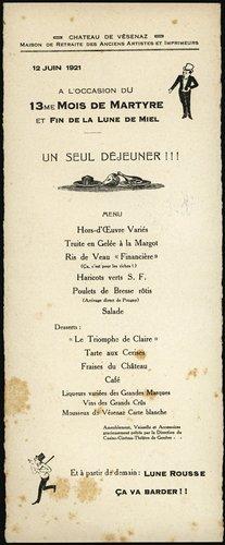 Château de Vésenaz, menu 1921
