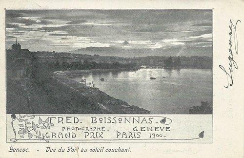 Genève - Vue du Port au soleil couchant