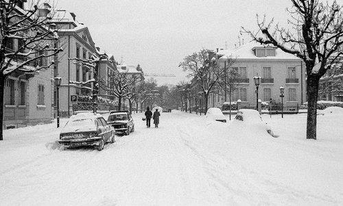 Genève, la Rue Charles Galland sous la neige