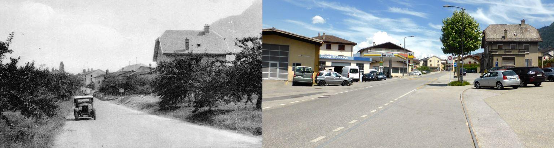 L'entrée de Riddes en 1937 et en 2018