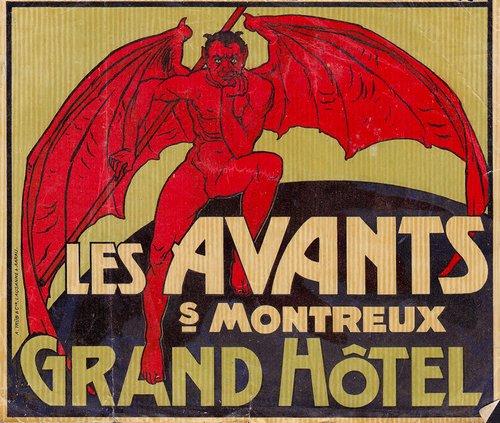 Étiquette de valise du Grand Hôtel Les Avants sur Montreux