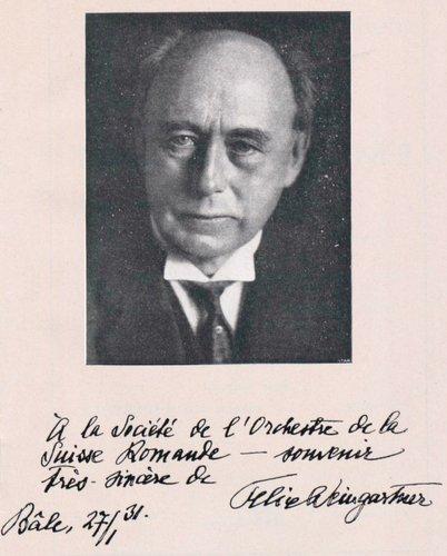 Felix WEINGARTNER, chef-invité de l'Orchestre de la Suisse Romande