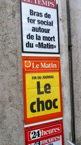 Fin du journal imprimé «Le Matin»