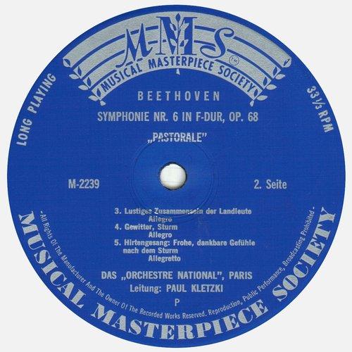 L.van BEETHOVEN, Symphonie No 6, ONRDF, Paul KLETZKI, MMS 2239, MONO, Étiquette verso du disque