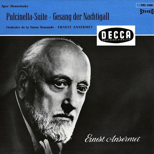 Igor STRAWINSKI, Le Chant du Rossignol, Pulcinella, OSR, Ernest ANSERMET, 1956, recto pochette SXL 2188, réédition allemande