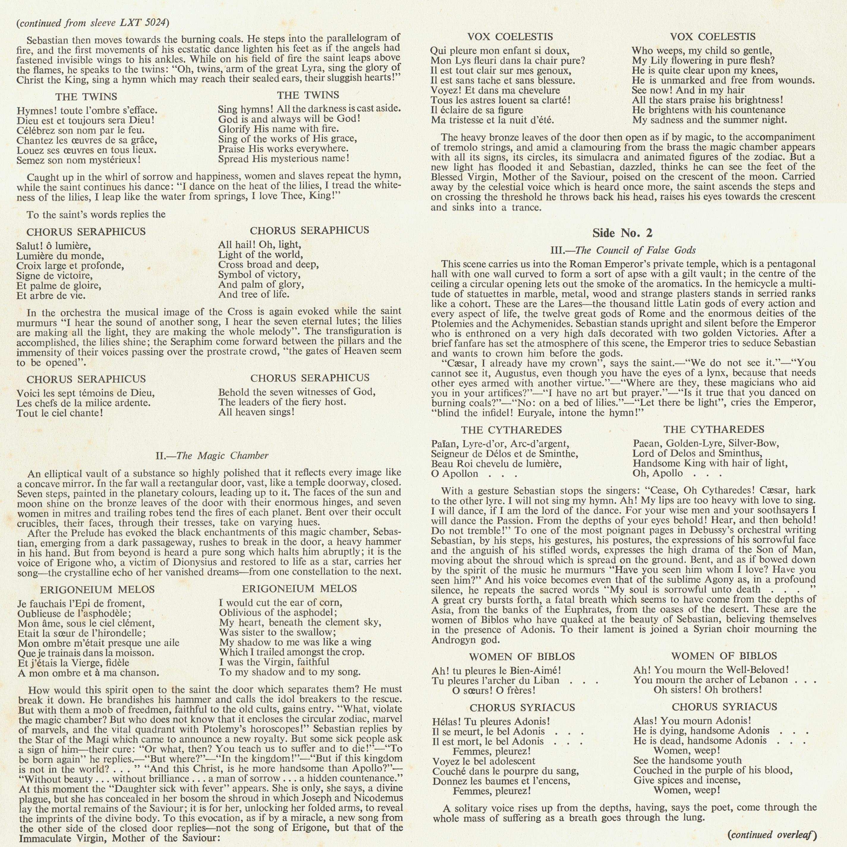 Claude DEBUSSY, Le Martyre de saint Sébastien, OSR, Ernest ANSERMET, 1954, recto insert disque LXT 5024